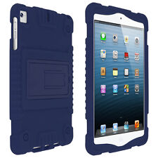 Coque iPad Mini 1 / 2 / 3 Protection Silicone Souple Relief Béquille Stand Bleu