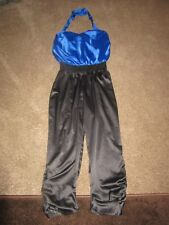 9c2e21b9acaa BNWT UK 16 Lipsy Jumpsuit Black Cobalt Blue Halter Neck Ruched Silky Feel  Dressy