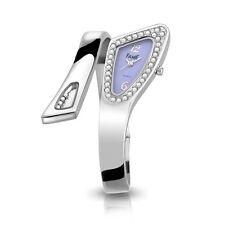 Top Edle Fame Damenuhr Spangenuhr Silber Flieder Strass Design Armbanduhr Uhr