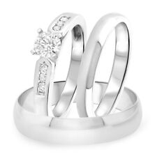 1.30 ct His and Her Engagement Wedding Band Trio Ring Set 18K White Gold Over