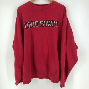 Nike Crewneck Sweater Mens 2XL Red Ohio State Buckeyes Center Swoosh Embroidered