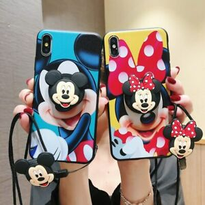 Cute Mouse Holder Lanyard Case for iPhone 12 Pro Max 11 Samsung Cartoon Strap