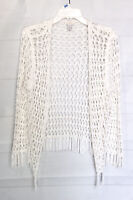 Chicos Crochet Cardigan Size 2 Size Large Open Front Sweater Knit Boho Peasant
