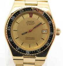 Omega Seamaster Electronic F300Hz Chronometer 18K Yellow Gold Mens Watch 40mm