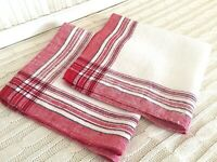 Vintage Napkins Set of 2 Xmas Cotton with Red and Black Plaid Farmhouse Cabin