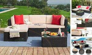 5 Pieces Patio Furniture Sectional Outdoor PE Rattan Wicker Lawn Beige