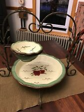 Home Interiors Apple Orchard Collection Pie Baking Dish & Bowl-Metal Leaf Rack