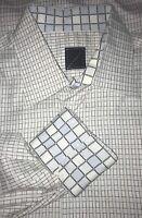 Brunelli Gray White Blue Plaid Cotton Dress Shirt Sz 42 16.5 MINT!!