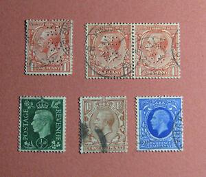 6 Vintage Stamps Great Britain King George V & VI 1912 1935 1951 Postage Revenue