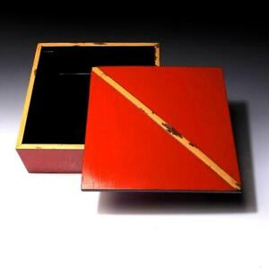 $RF43: Vintage Japanese Lacquered Wooden Box, with Bamboo frame