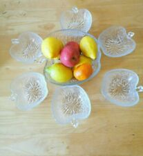 Vintage Rayware Glass Fruitella Serving Bowl And Six Dishes