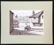 "Fish Street St Ives original mounted art print 12""x10"" G.Burgess Cornwall"