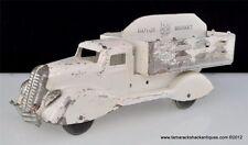 "Marx Motor Market Studebaker Pressed Steel 10"" Pickup Truck Wood Wheels White US"
