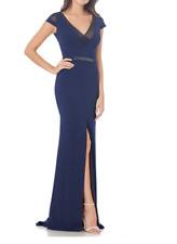 Carmen Marc Valvo Infusion Illusion Trim V-Neck Cap Sleeve Mermaid Gown, Size 6
