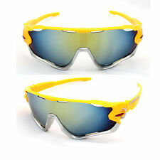 TRIATHLON Sunglasses Yellow Silver Bike Cycling Aero Helmet Tri Sun Glasses run