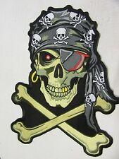 """Grand Patch écusson """"  tête de mort jaune au foulard  """"biker,harley,34 X 25,5 cm"""