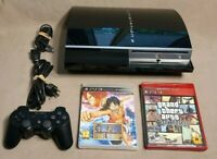 Sony CECHL01 PlayStation 3 80GB Piano Black Video Game Console Bundle