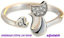 Gorgeous  Crystal Cat Ring
