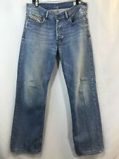 Diesel Men's Kuratt Light Wash Wide Leg Distressed Denim Jeans 32 x 30 EUC