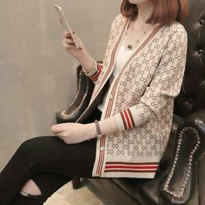 Single Breasted Women's V-neck Sweater Cardigan Jacket Winter Top Long Sleeve
