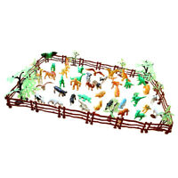 Pack of 68 Plastic Farm Yard Figures Wild Animals Model Set Educational Toy