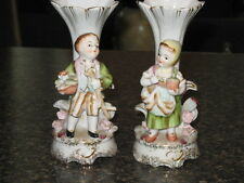 2 SMALL VICTORIAN  PORCELAIN VASES A GIRL AND A BOY JAPAN