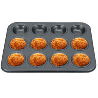 12 Cup Cavity Muffin Pan Carbon Steel Cookies Cupcake Bakeware Baking Tray Mold