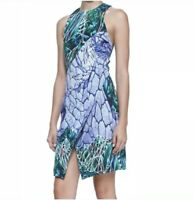 Dion Lee Dress 6 Green Multi Color Print Sleeveless Silk Mini Women's $940