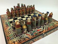 Vtg Miniature Clay Glazed Renaissance Roman Indian War Chess Game Set