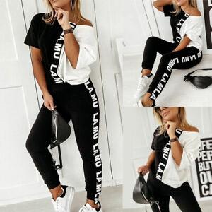 2PCS Womens Letter Print Tracksuit Set Tops Pants Joggers Sports Lounge Wear