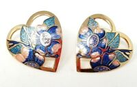 Vintage Heart Cloisonne Enamel Gold tone Pierced Earrings