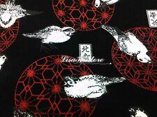 Bird and Japanese ball temari, black, 1/2 yard, pure cotton fabric