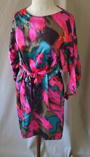 Hoss Intropia Spain Fushia/Teal Silk Dress Size 38/4 NWT $392