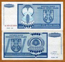 Croatia, Knin 100,000,000 Dinara, 1993, Pick R15, XF