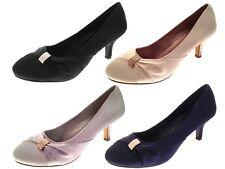 Para mujeres Zapatos Tacón Bajo Satén Diamante Boda Nupcial Zapatos De Tacones Altos Damas Tribunal