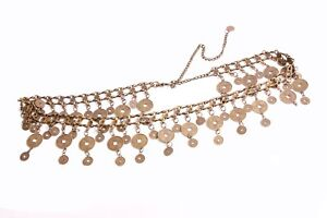 Magnificent Copper Gold Matte Metal Chain Ladies Belt with Coin Tassels (S441)