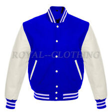 Varsity Letterman Royal-Blue wool and Genuine White Leather Sleeves Jacket