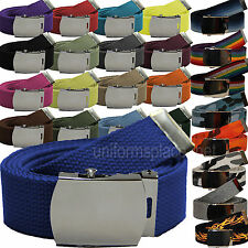 """Military Canvas Web Belt With Metal Buckle colors Fabric size 42"""" 48"""" 54"""" 60"""""""
