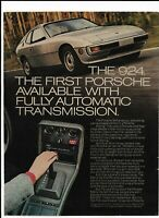 Porsche 924 Silver Automobile 1977 Print Ad ~ Fully Automatic Transmission