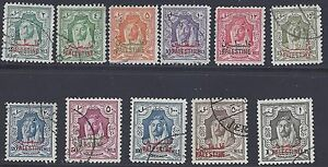 JORDAN PALESTINE 1948 KING ABDULLAH SET OF 10 INCLUDES 500 MILS & £1 SG P2 16 CV