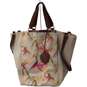 Tommy Bahama Linen Blend Convertible Strap Shoulder Tote Bag Birds Of Paradise