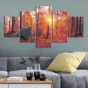 Red Forest Nature Scenery Poster 5 Panel Canvas Print Wall Art Home Decor
