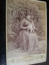 Cdv cabinet photograph woman jack russell type dog on lap c1890s