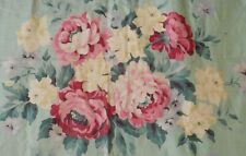 Antique Vintage Shabby Cottage Roses Cotton Fabric ~ Pink Yellow Blue Mint Green