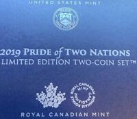 2019 Pride of Two Nations Limited Edition Two-Coin Set IN HAND US Mint Ottawa