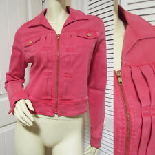 MOTHER Womens Zip Up Jacket Top L Ladies Jackets Pink Red Denim Jeans Fall Tops