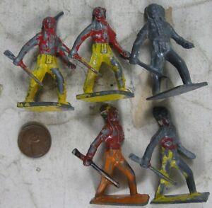 5 Vintage 1930's Cast Lead Indians Lincoln Log
