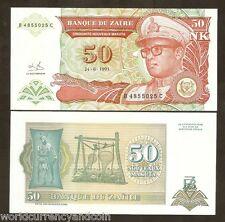 ZAIRE 50 MAKUTA P51 1993 100 PCS LOT BUNDLE JAGUAR LEOPARD MOBUTU UNC CONGO NOTE
