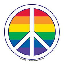 Gay Pride Peace Sign Bumper Sticker Rainbow Lesbian LBGTQ Rights Resistance