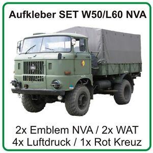 Aufkleber Set für IFA W50 L60 mit Emblem NVA DDR Wat-Zeichen Luftdruck Rot Kreuz